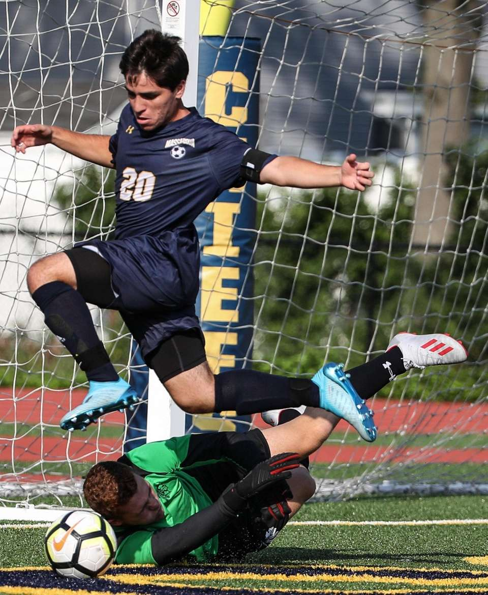 Syosset goalkeeper Cole Nevins takes the ball out