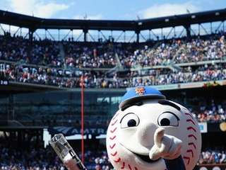 Mr. Met entertains fans in between innings during