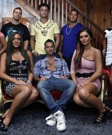 "The cast members of MTV's ""Jersey Shore"" at"