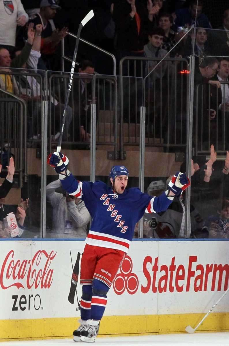 Brandon Dubinsky #17 of the New York Rangers