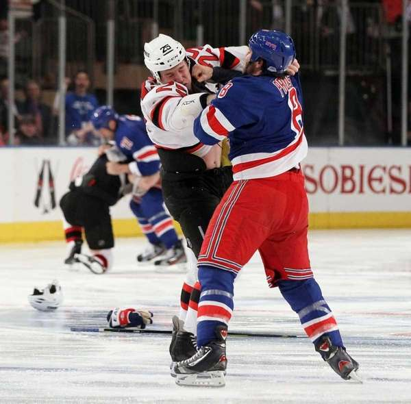 Brandon Prust #8 of the New York Rangers