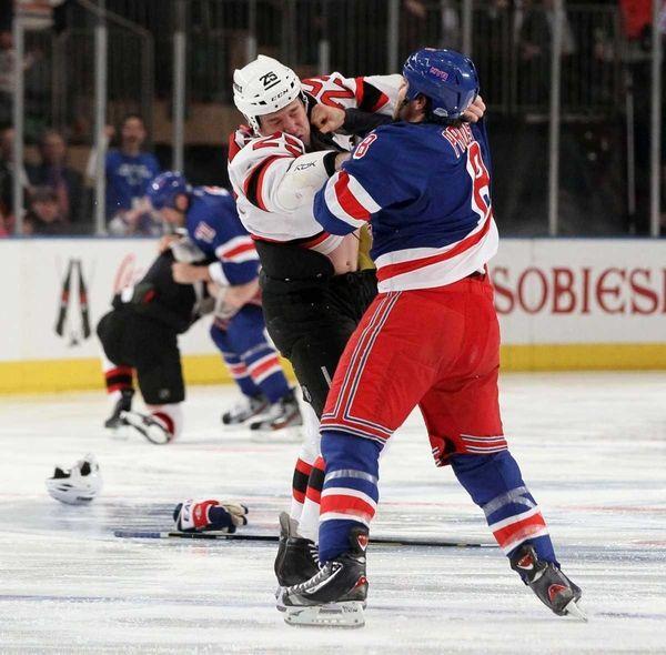 Brandon Prust #8 of the New York Rangers