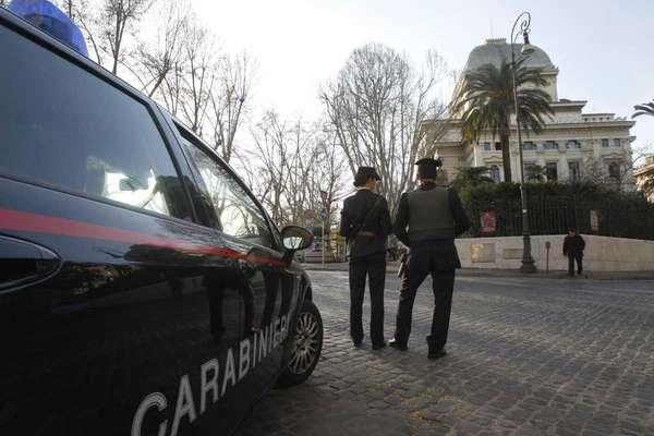 Carabinieri officers patrol outside Rome's Synagogue. Security was