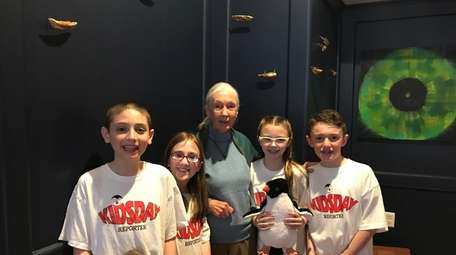 Primatologist and anthropologist Jane Goodall with Kidsday reporters