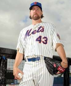 R.A. Dickey poses for photos during MLB photo