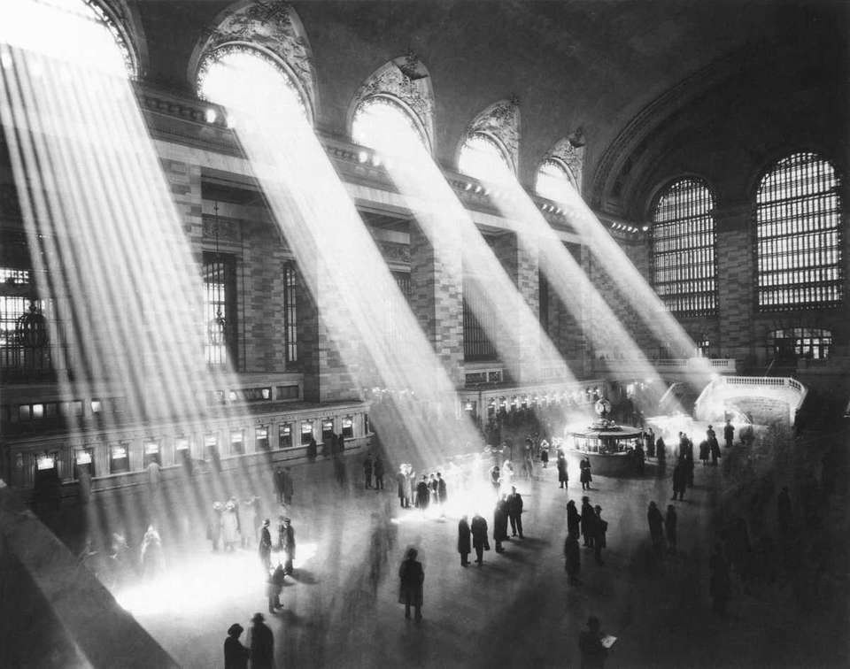 Sunlight streams through the windows in the concourse