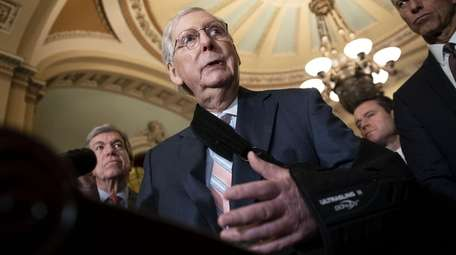 Senate Majority Leader Mitch McConnell (R-Ky.) speaks Tuesday
