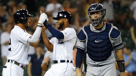 Yankees catcher Gary Sanchez walks to the dugout