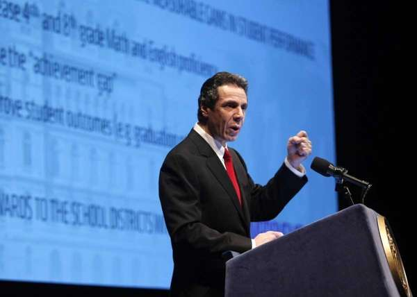 New York Gov. Andrew Cuomo presents his 2011-2012
