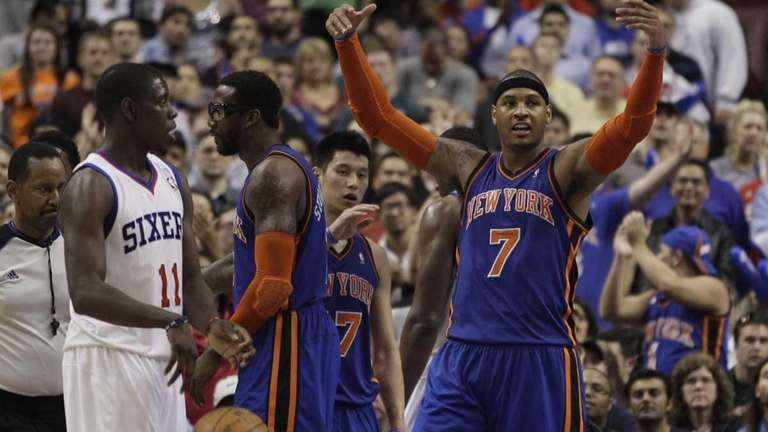 Carmelo Anthony reacts after a foul as Philadelphia