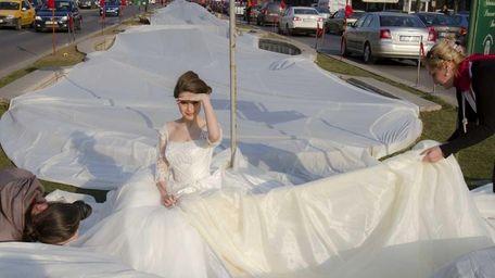 Model Emma Dumitrescu, 17, poses to show the