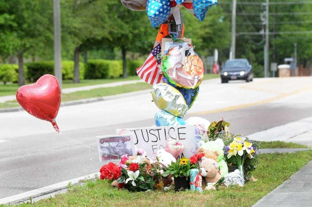 A memorial to Trayvon Martin sits outside The