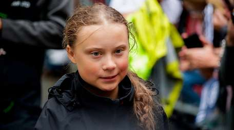 Swedish climate activist Greta Thunberg, 16, arrives in