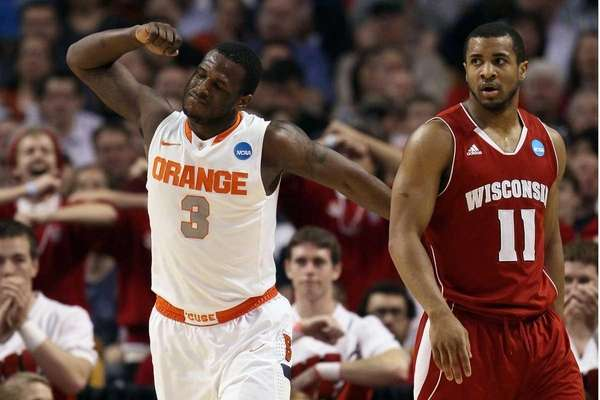 Dion Waiters #3 of the Syracuse Orange reacts