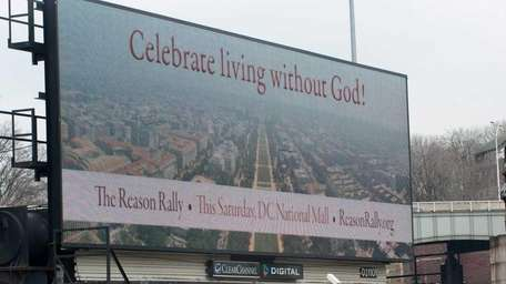 A view of a billboard on the New