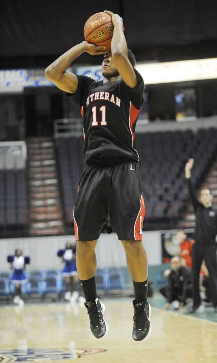 Long Island Lutheran's Brandon Alford hits a three-point