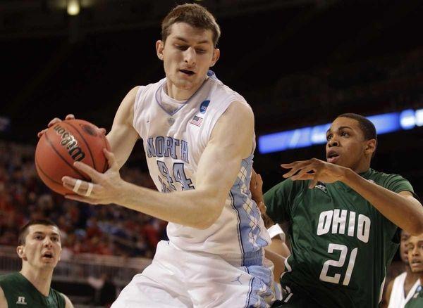 North Carolina forward Tyler Zeller (44) grabs a