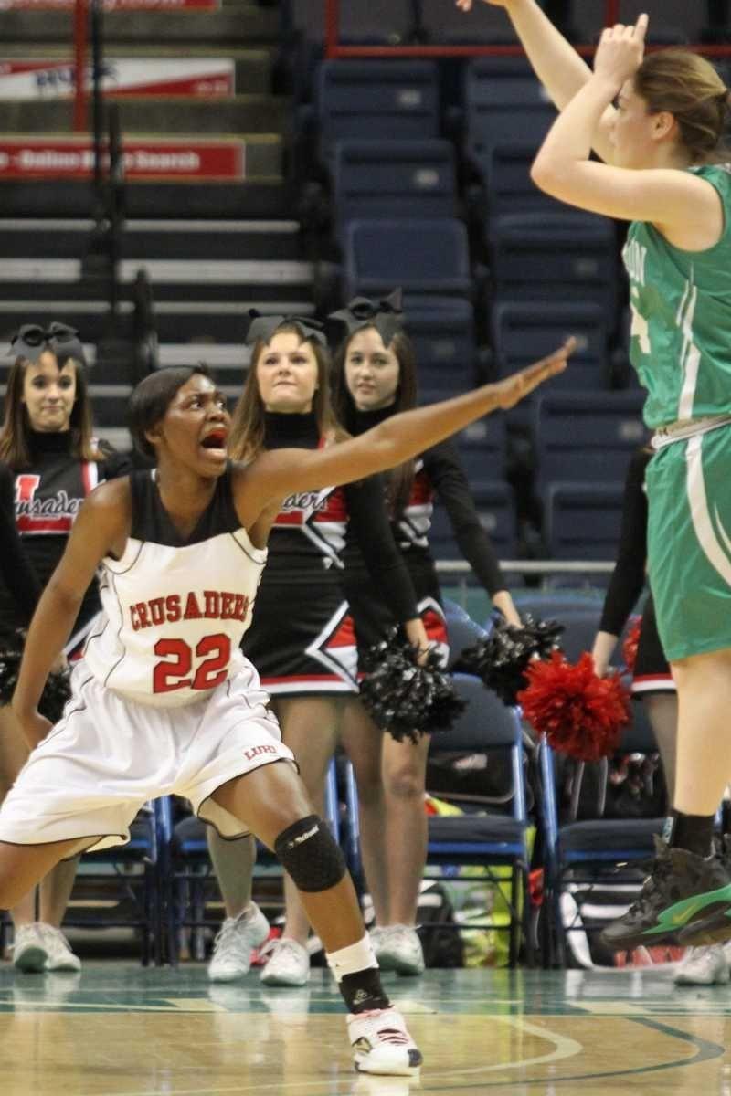 Long Island Lutheran's Staci Barrett plays defense during