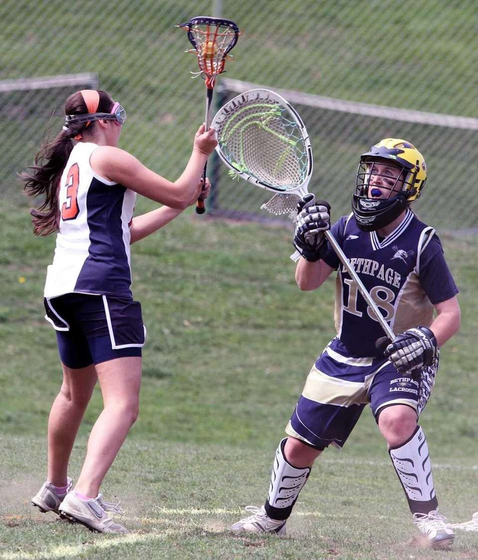 Bethpage's Goalie Brianna Whelan is about to make