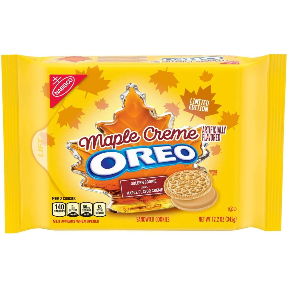 This limited-edition flavor features maple-flavored cream between two