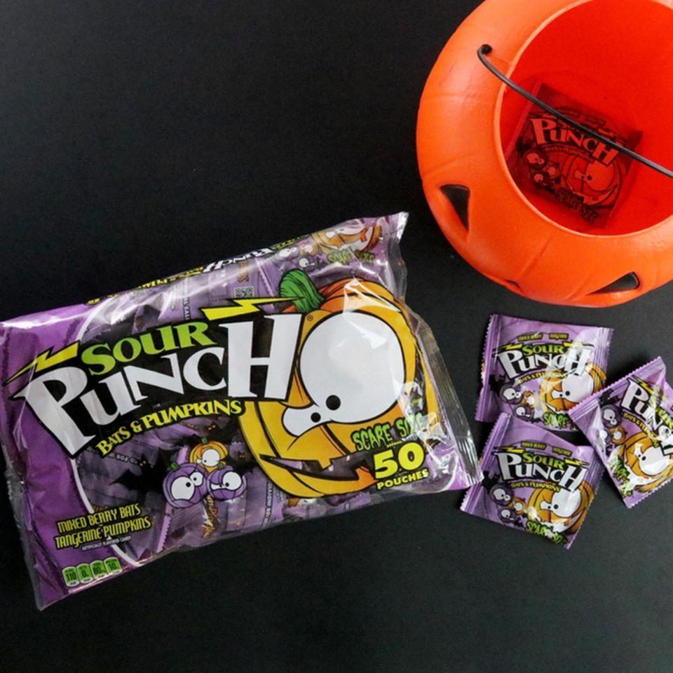 Sour candy shaped like bats and pumpkins come