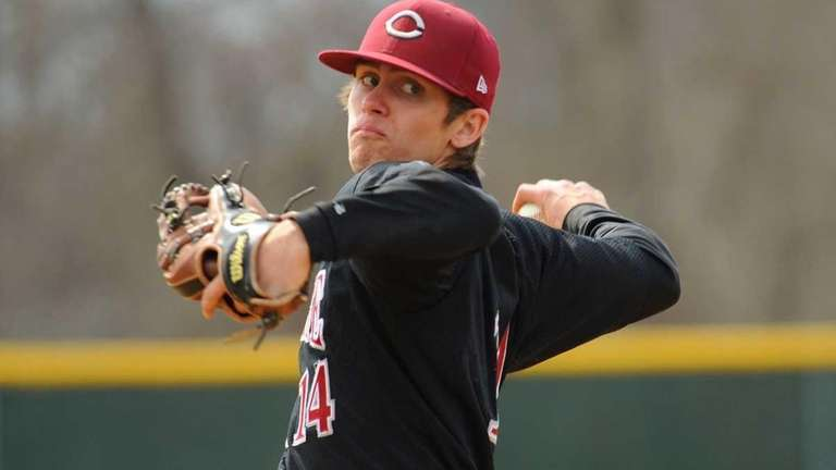 Clarke starting pitcher #14 Chis Appell delivers in