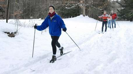 A cross-country skier enjoys the trails in Taconic