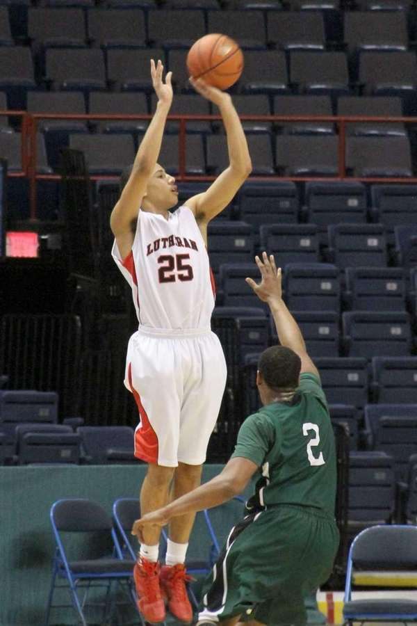 Long Island Lutheran's Anthony Pate goes up for