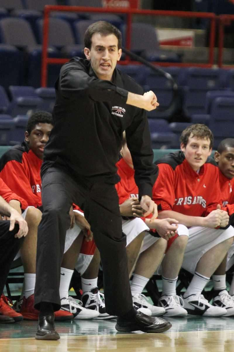 Long Island Lutheran's Coach John Buck yells instructions