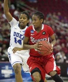 St. John's Shenneika Smith drives past Duke's Ka'lia