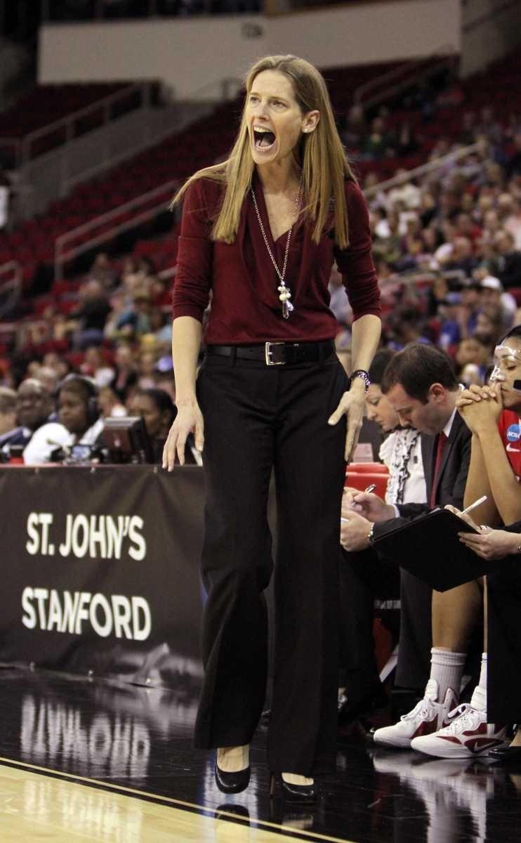 St. John's head coach Kim Barnes Arico shouts