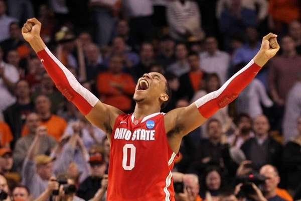 Jared Sullinger of the Ohio State Buckeyes celebrates