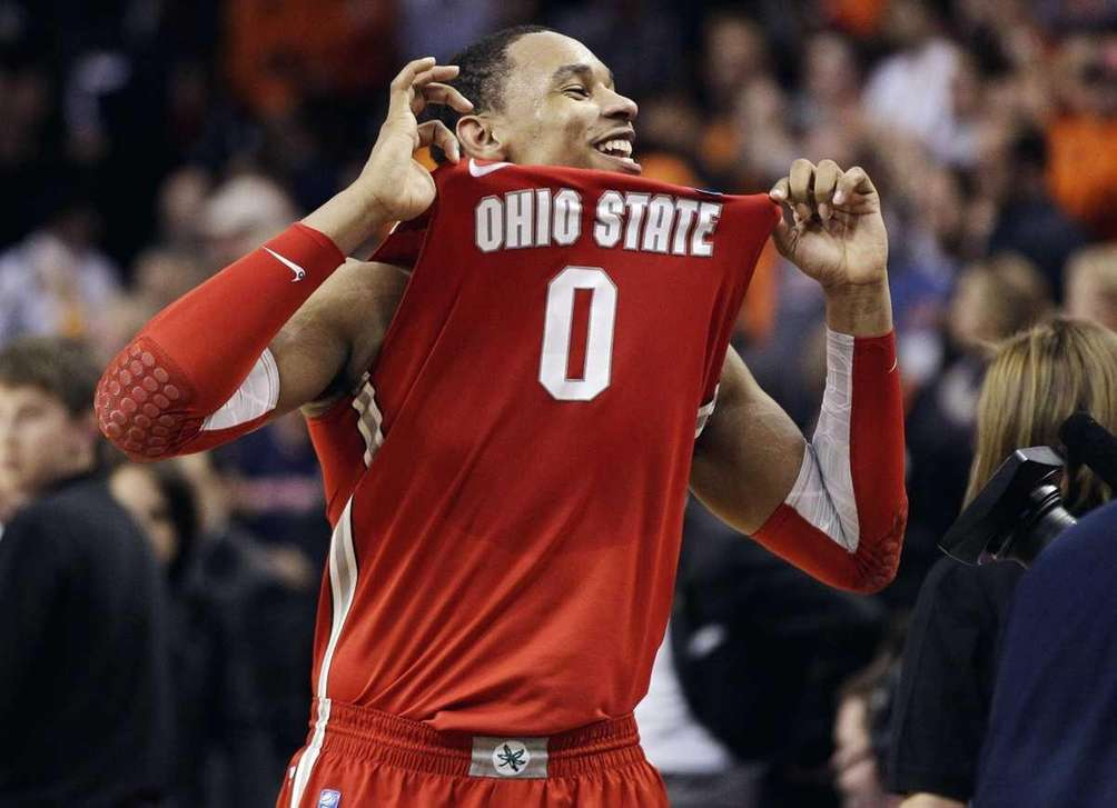Ohio State forward Jared Sullinger celebrates his team's