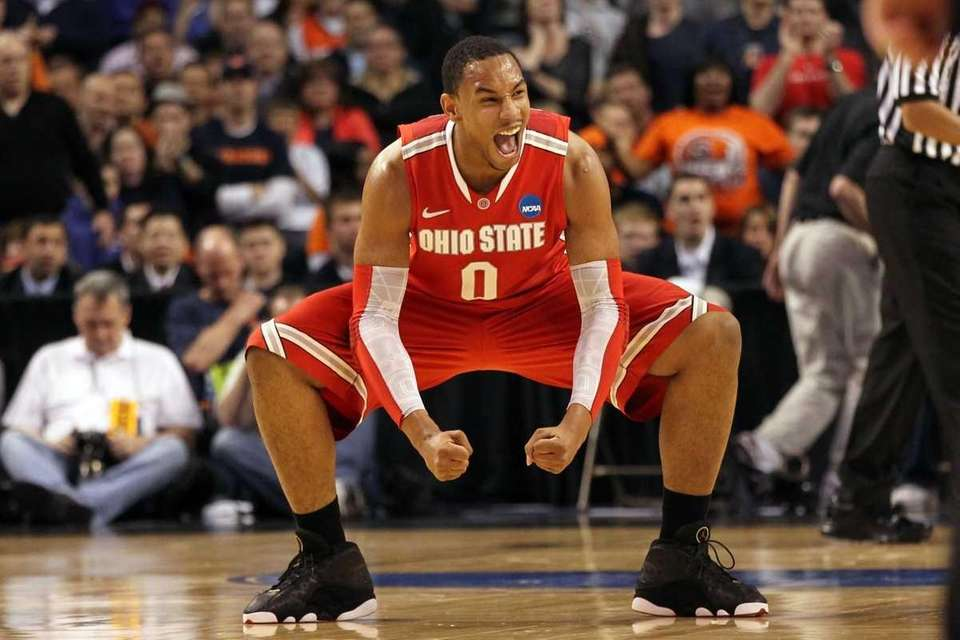 Jared Sullinger of the Ohio State Buckeyes reacts