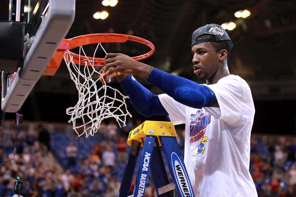 Thomas Robinson #0 of the Kansas Jayhawks cuts