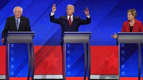 Bernie Sanders, Joe Biden and Elizabeth Warren onstage