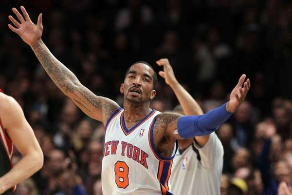 J.R. Smith celebrates after hitting a 3-point shot
