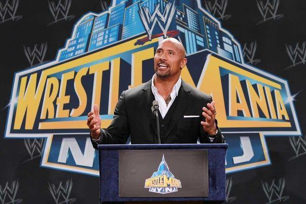 "Dwayne ""The Rock"" Johnson speaks at a news"