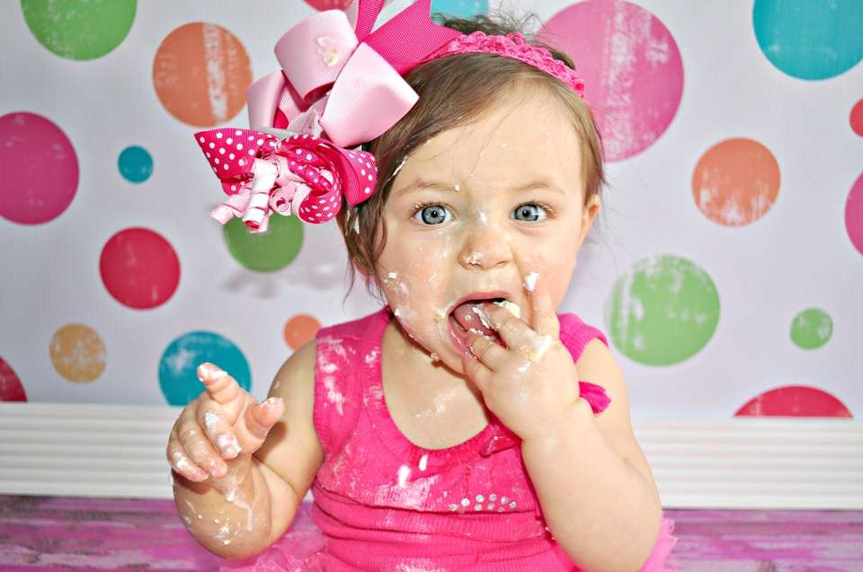 This is Sophia's 1st birthday cake smash.