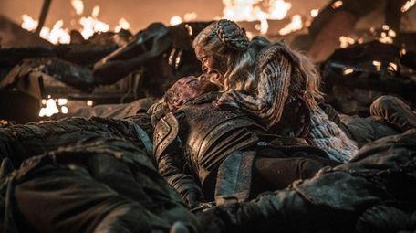 "Emilia Clarke and Iain Glen in HBO's ""Game"