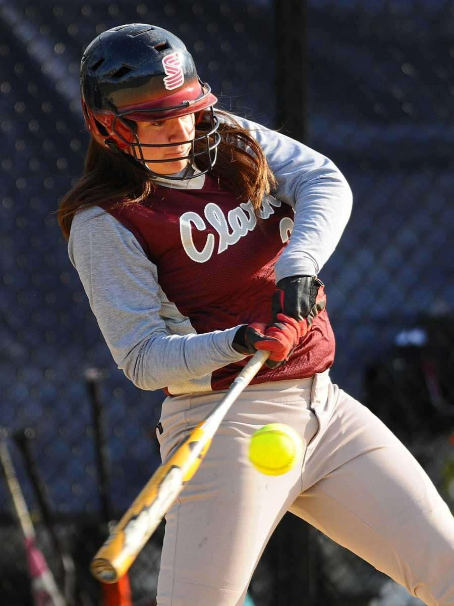 Clarke's Danielle Ferrara bloops a single into shallow