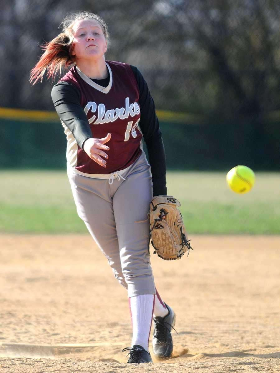 Clarke eighth grade pitcher Sarah Cornell delivers to