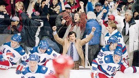 Olympic Hockey coach Herb Brooks (KURT RUSSELL, center)