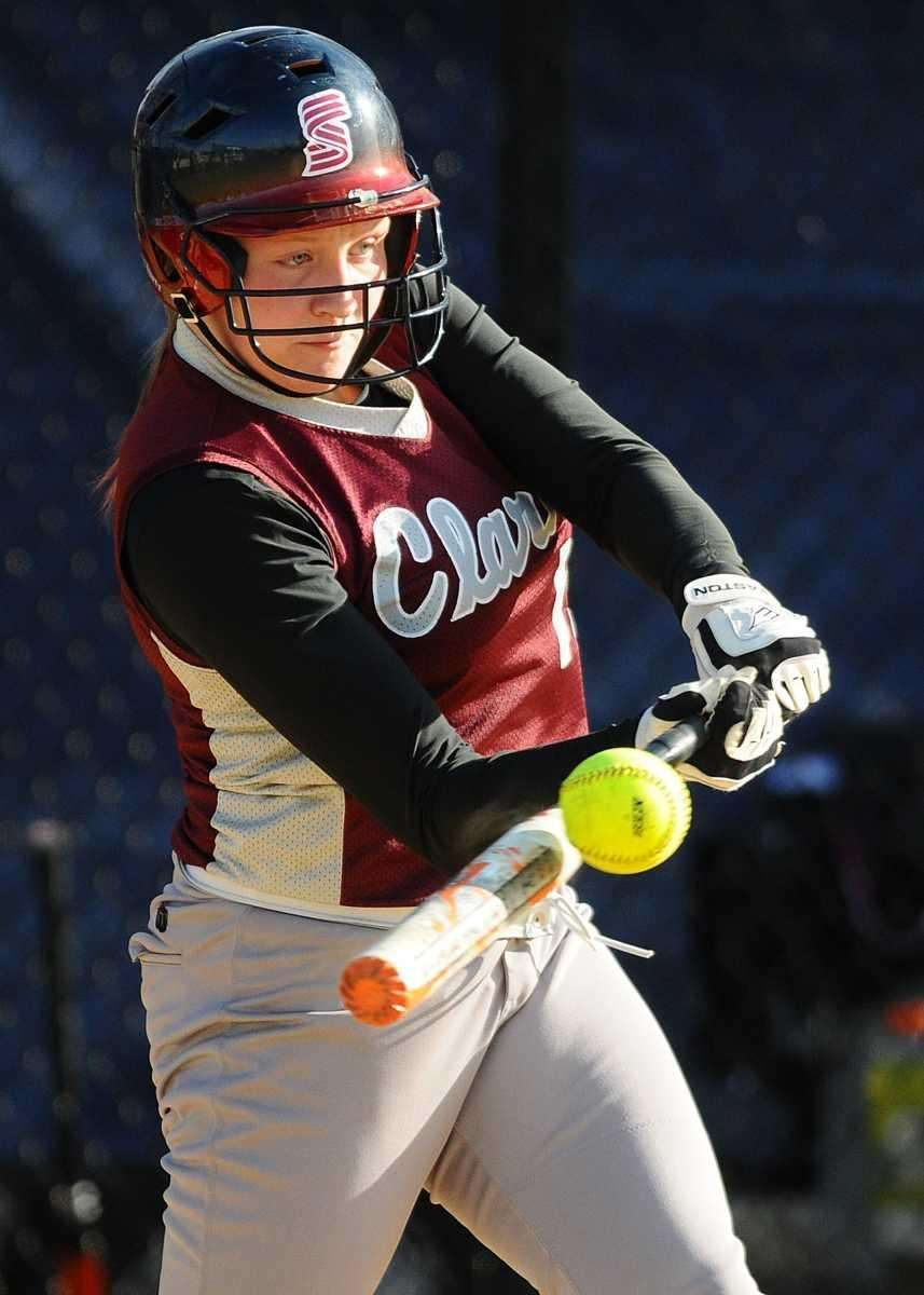 Clarke eighth grade pitcher Sarah Cornell hits an