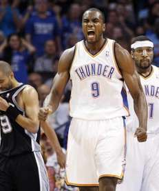 Oklahoma City Thunder forward Serge Ibaka (9), of