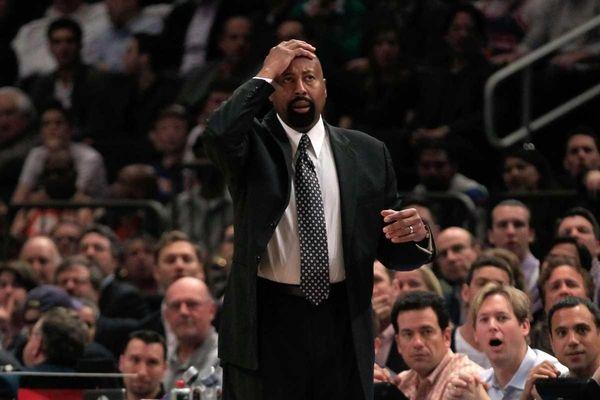 Knicks head coach Mike Woodson looks on against