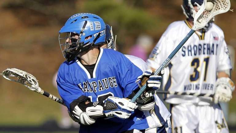 Hauppauge's Sam Linares (13) readies a shot in
