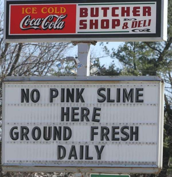 A sign at the Butcher Shop in Northwood,
