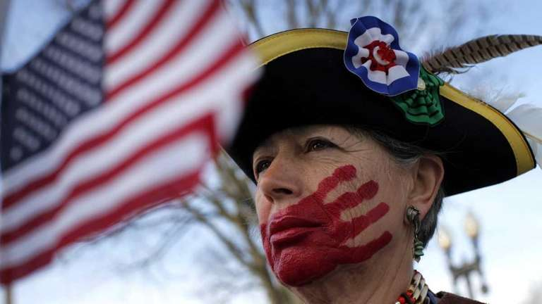 Susan Clark of Santa Monica, Calif., protests against