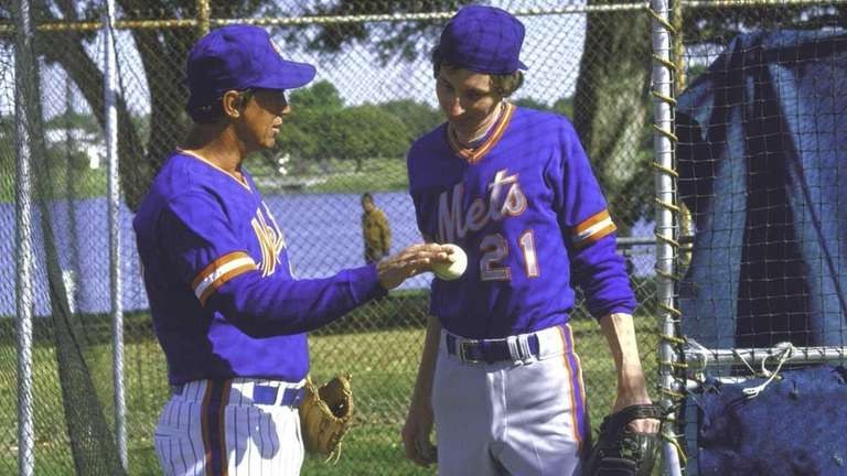 Mets pitching coach Mel Stottlemyre with fictional character